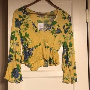 Urban Outfitters Floral Yellow Blouse